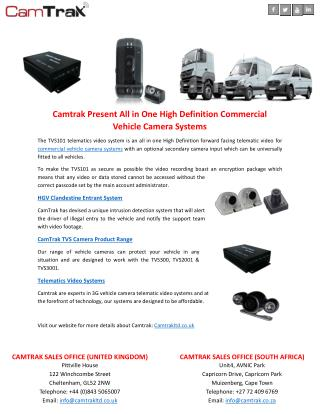Camtrak Present All in One High Definition Commercial Vehicle Camera Systems