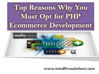 Top Reasons Why You Must Opt for PHP Ecommerce Development
