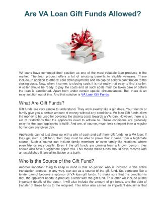Are VA Loan Gift Funds Allowed?