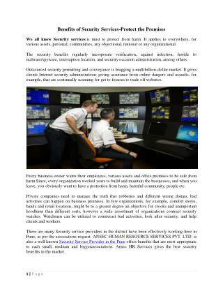 Benefits of Security Services-Protect the Premises