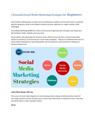 5 Essential social media marketing strategies for beginners