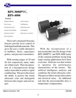 RPS-3000PVC & RPS-4000 Ultrasonic Level Sensor-isweek