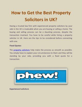 How to Get the Best Property Solicitors in UK?