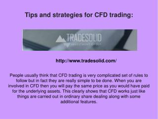 Tips and strategies for CFD trading