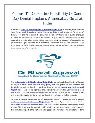 Factors To Determine Possibility Of Same Day Dental Implants Ahmedabad Gujarat India