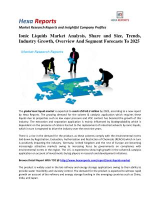 Ionic Liquids Market Share, Industry Growth And Overview To 2025: Hexa Reports