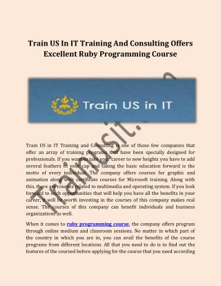 Train US In IT Training And Consulting Offers Excellent Ruby Programming Course