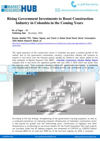 Colombia's Construction Market Research Report 2017