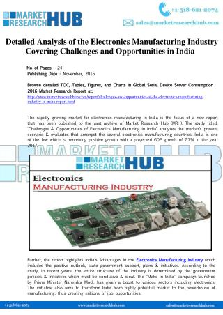 India Electronics Manufacturing Industry Research Report 2017