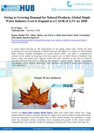 Global Maple Water Industry Market Report 2017