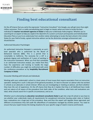 Finding best educational consultant