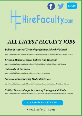 Search all the latest faculty jobs in India at hirefaculty.com