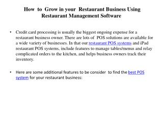 How  to  Grow in your  Restaurant Business Using Restaurant Management Software
