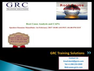 Root Cause Analysis and CAPA