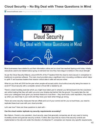 Cloud Security – No Big Deal with These Questions in Mind