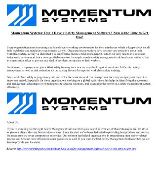 Momentum Systems: Don't Have a Safety Management Software? Now is the Time to Get One!