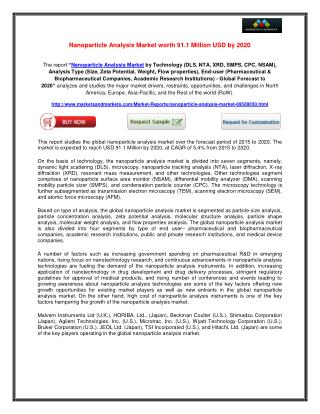 Nanoparticle Analysis Market worth 91.1 Million USD by 2020