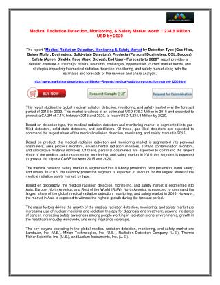 Medical Radiation Detection, Monitoring, & Safety Market worth 1,234.8 Million USD by 2020