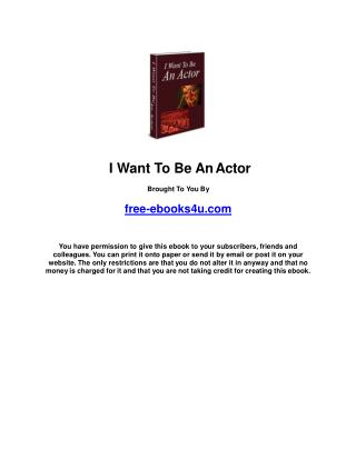 I want to be an actor