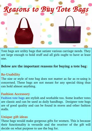 Reasons to Buy Tote Bags