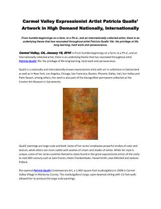 Carmel Valley Expressionist Artist Patricia Qualls' Artwork in High Demand Nationally, Internationally