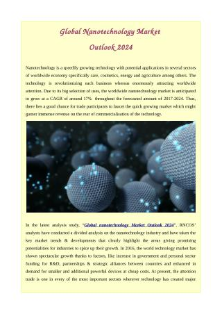 Global Nanotechnology Market Outlook 2024