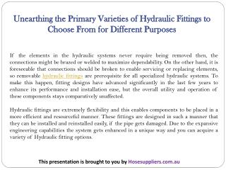 Unearthing the Primary Varieties of Hydraulic Fittings to Choose From for Different Purposes