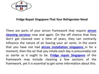 Fridge repair singapore that your refrigerator need