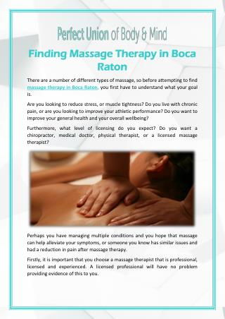 Finding Massage Therapy in Boca Raton