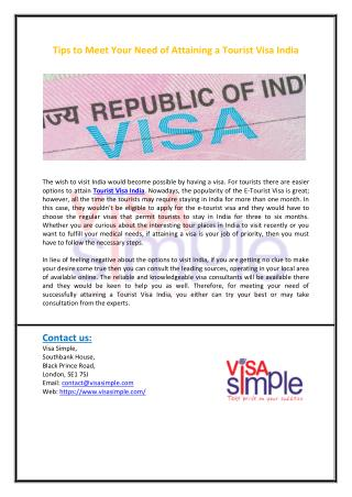 Tips to Meet Your Need of Attaining a Tourist Visa India
