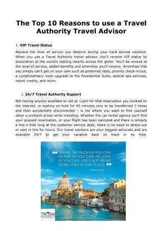 The Top 10 Reasons to use a Travel Authority Travel Advisor