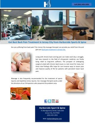 Get Best Back Pain Treatment in Jersey City from Harborside Sports & Spine