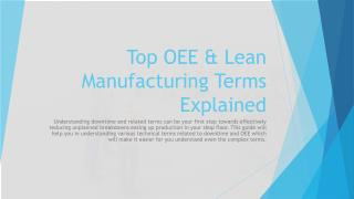 Top OEE & Lean Manufacturing Terms Explained