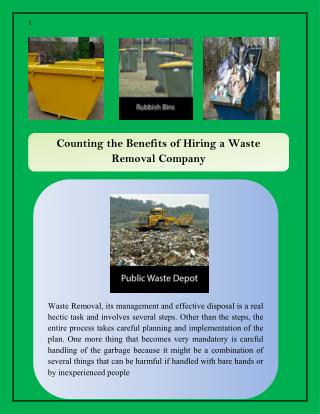 Counting the Benefits of Hiring a Waste Removal Company