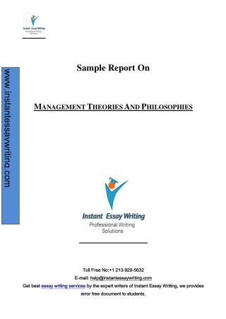 Sample Report on Management theories and Philosophies by Experts