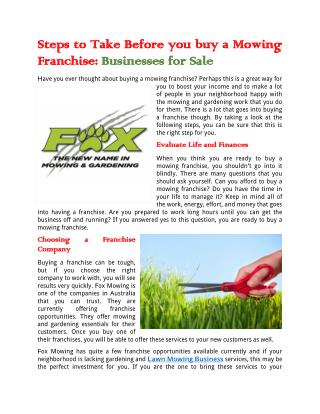Steps to Take Before you buy a Mowing Franchise: Businesses for Sale