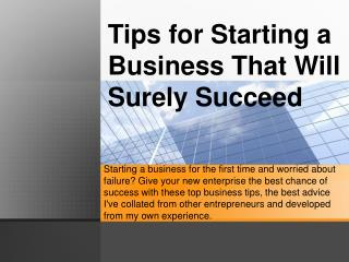 Tips for starting a business that will surely succeed