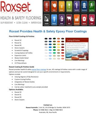 Roxset Provides Health & Safety Epoxy Floor Coatings
