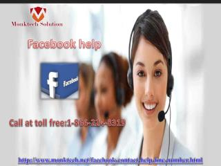 Facebook help issue is no longer a big deal 1-866-224-8319