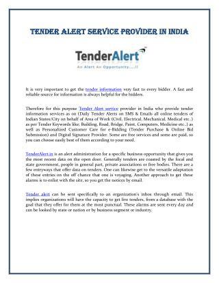 Tender Alert Service Provider in India