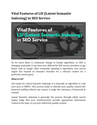 Vital Features of LSI (Latent Semantic Indexing) in SEO Service