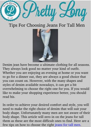 Tips For Choosing Jeans For Tall Men
