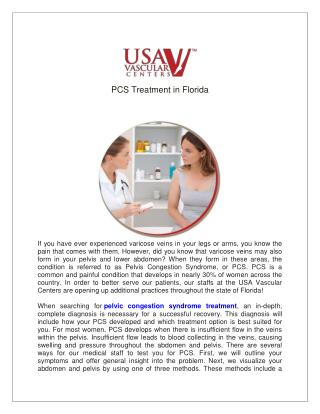 PCS Treatment in Florida at USA Vascular Centers