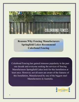 Reasons Why Fencing Manufacturers Springfield Lakes Recommend Colorbond Fencing