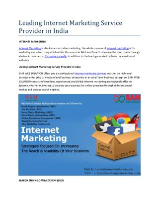 Leading Internet Marketing Service Provider in India