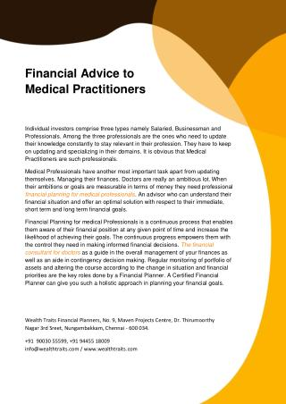 Financial Advice to Medical Practitioners