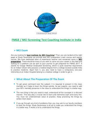 FMGE / MCI Screening Test Coaching Institute in India - Study Sevenseas