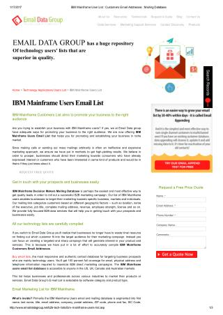 List of Email Addresses of IBM Mainframe