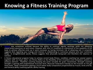 Knowing a Fitness Training Program