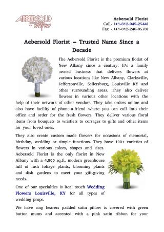 Aebersold Florist – Trusted Name Since a Decade